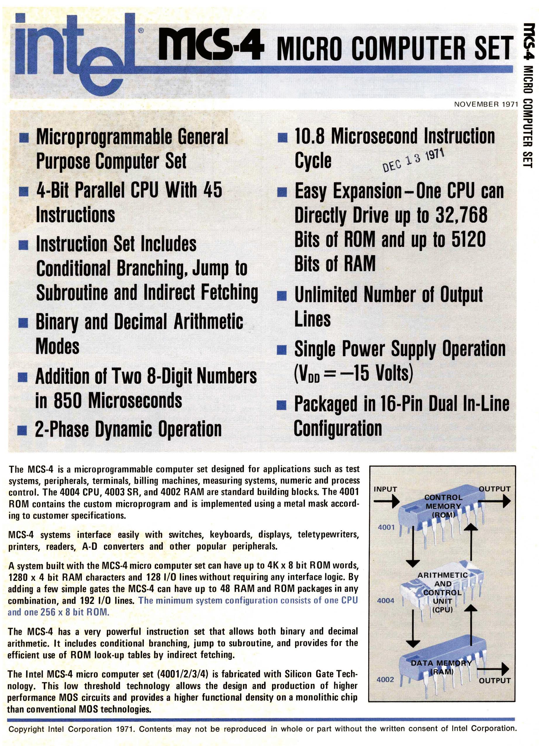 Première page de la fiche technique de la famille de quatre puces MCS-4 dont le microprocesseur Intel 4004 constitue le cœur