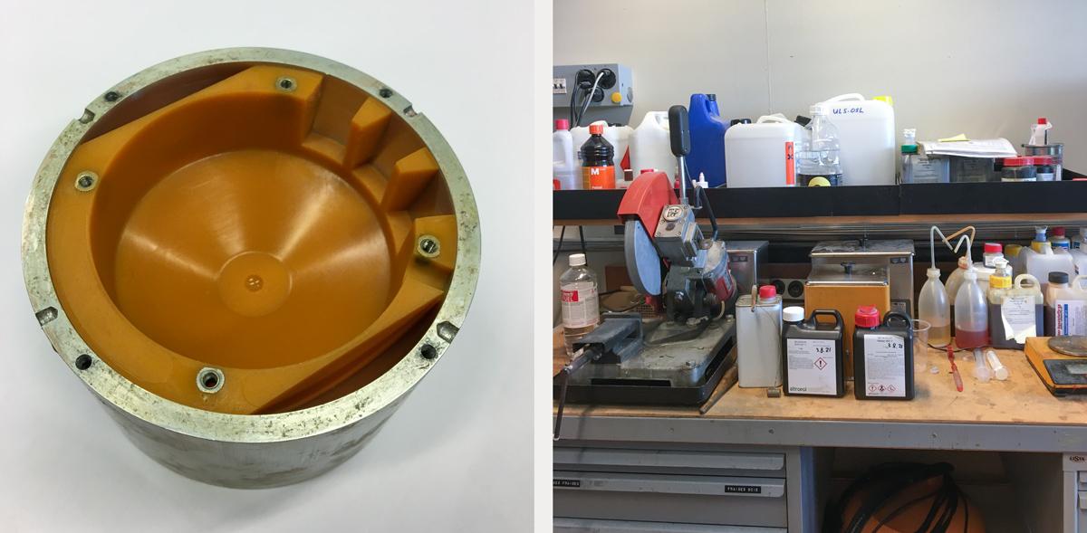 Intérieur du moule de coulage de la coque de la souris, coin coulage du laboratoire d'André Guignard | © Anne-Sylvie Weinmann