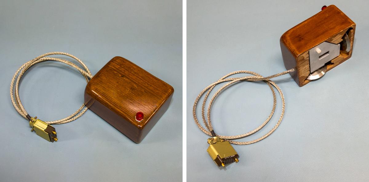 La souris de Douglas Engelbart, et ses roues qui seront remplacées par une bille | © Musée Bolo