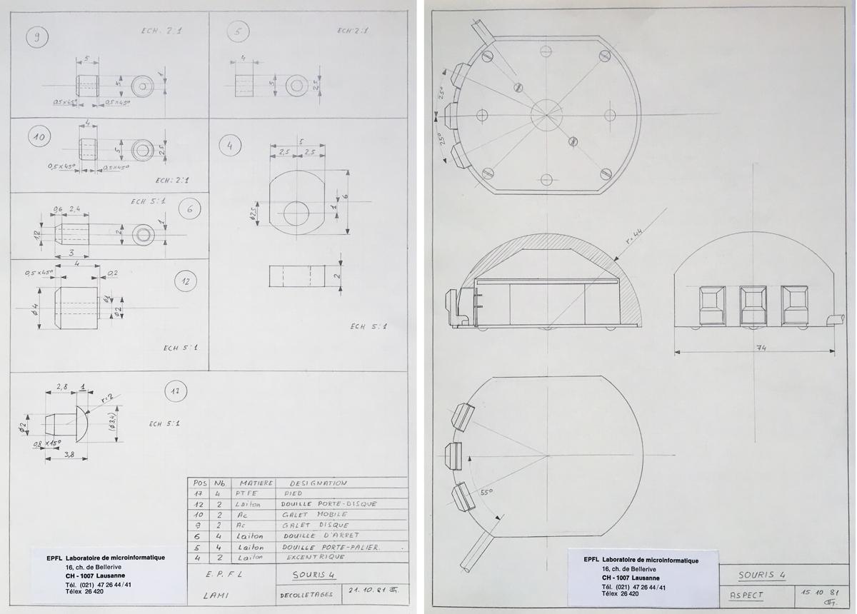 Une partie des plans de la souris 4 dessinés à la main par André Guignard | © Anne-Sylvie Weinmann